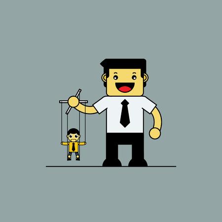 puppeteer: Cute puppeteer businessman, Cartoon vector illustration.