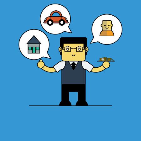 actuary: Cute actuary, Cartoon vector illustration.