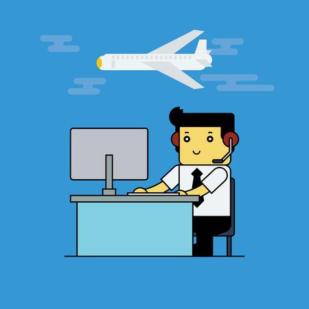 航空交通管制官、漫画ベクトル illustrion。  イラスト・ベクター素材