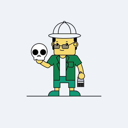 Anthropologist holding skull in hand, Cartoon vector illustration. Illustration