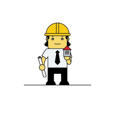 arquitecto caricatura: Arquitecto que sostiene modelo de la casa, ilustraci�n vectorial de dibujos animados. Vectores