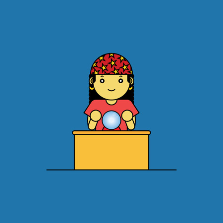 predicting: Fortune teller with glass ball, Cartoon vector illustration.
