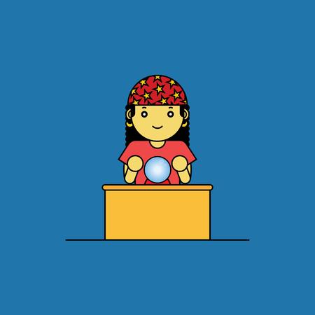 fortune teller: Fortune teller with glass ball, Cartoon vector illustration.