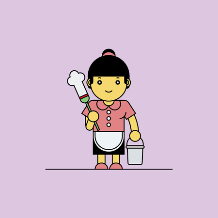 housekeeper: Housekeeper holding bucket and feather duster, Cartoon vector illustration.