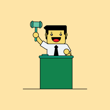auctioneer: Auctioneer holding wooden hammer, Cartoon vector illustration.