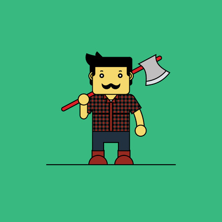 woodcutter: Woodcutter holding axe in hand, Cartoon vector illustration.