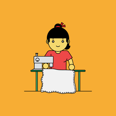 stitching machine: Tailor using sewing machine, Cartoon vector illustration.