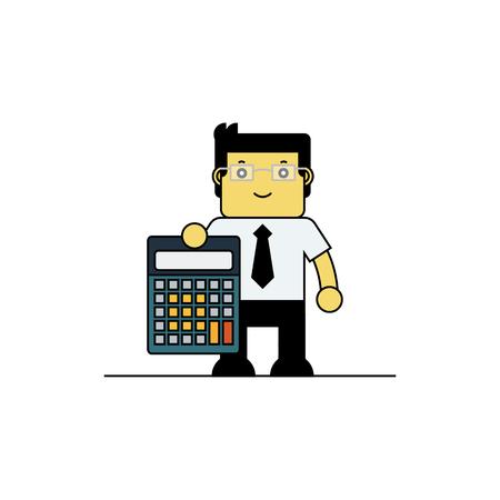 accountants: Acoountant hoding calculator, Cartoon vector illustration.