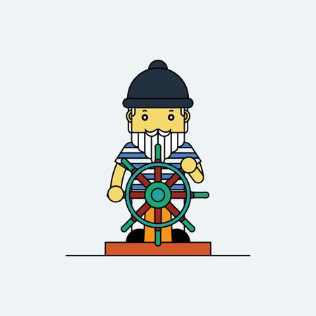 mariner: Seaman holding ship wheel in hands, Cartoon vector illustration. Illustration