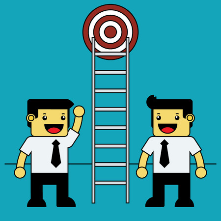 getting: Businessman using ladder for getting target.