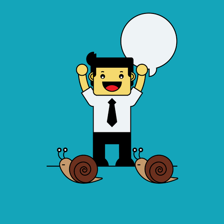 cheer up: Businessman cheer up snail racing.