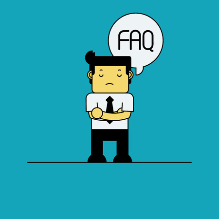 thinking bubble: Businessman with FAQ in thinking bubble. Illustration