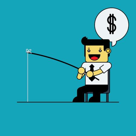 fisher man: Businessman fishing dollar.