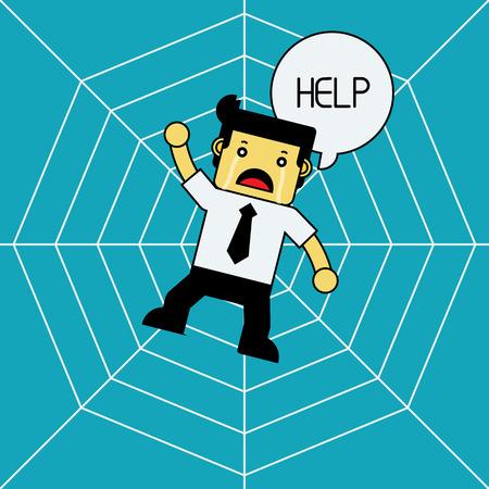 man trapped: Businessman Stuck On Spider Web. Illustration