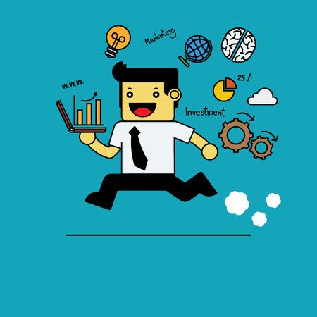 running businessman: Running businessman holding notebook with marketing icons. Illustration
