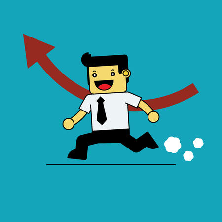 red arrow: Businessman running with red arrow. Illustration