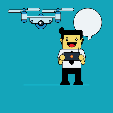 drone: Businessman playing drone.