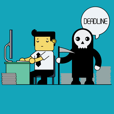 deadline: Businessman working on deadline. Illustration