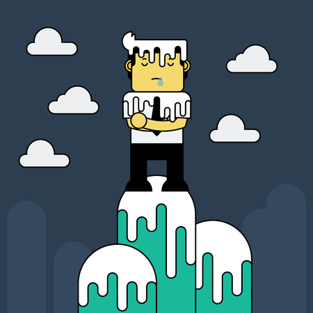 lonely: Businessman, Its lonely at the top. Illustration