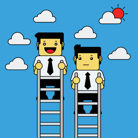 man looking at sky: Two businessmen standing on ladders.