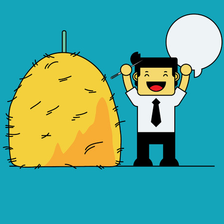 Businessman with needle in haystack.