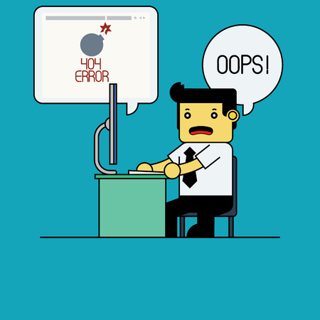 found: Businessman with 404 error page not found. Illustration