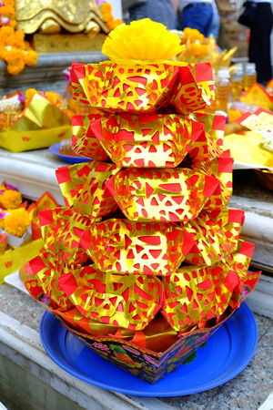 Joss Paper Offered to The House Spirits and Angels. Stock Photo