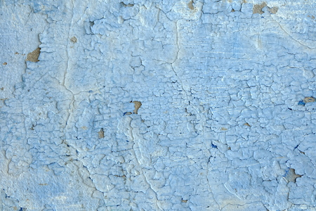 Blue Peeling Paint on Cement Wall Texture Background. Stock Photo