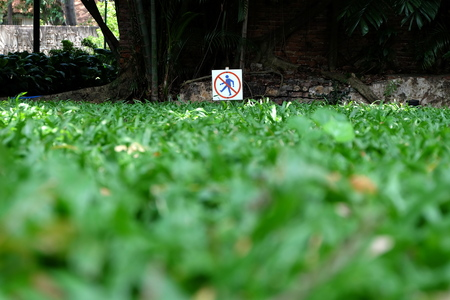 Keep Off the Grass Sign. (Mise au point sélective)