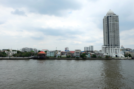 BANGKOK, THAILAND - MARCH 28, 2017: Scenery of Chaophraya River from San Chao Guan Ou pier (Khlong San District). Chaophraya River is the major river in Thailand. Editorial