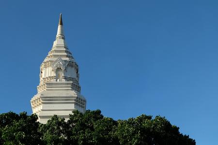 White Pagoda at Wat Paknam Phasi Charoen Temple Bangkok, Thailand.