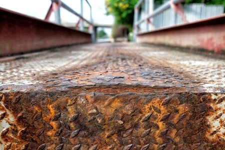 Diamond Plate Steel Pavement. (Selective Focus) Stock Photo