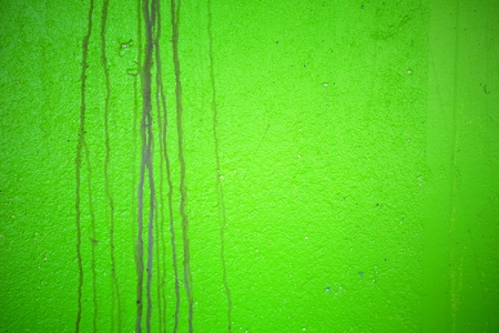 Water Stain on Green Painted Concrete Wall Texture Background.