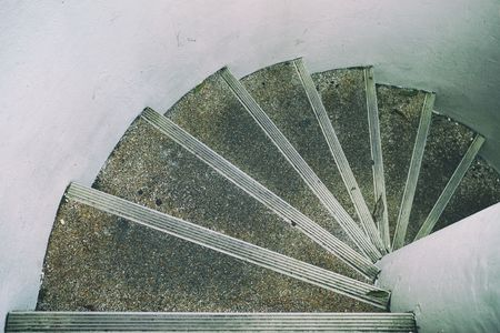 Top View of Circular Concrete Staircase. Stockfoto