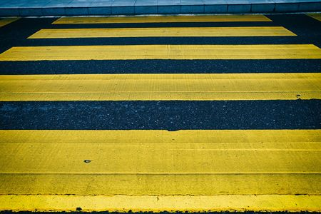 Yellow Crosswalk on The Street.