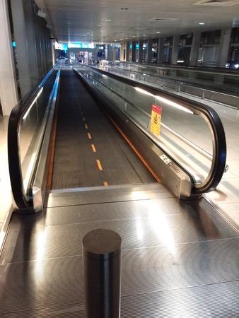 elevated walkway: Escalator Stock Photo
