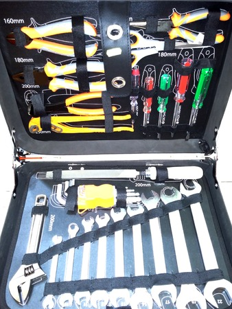 t square: Tool Box with Tools Stock Photo