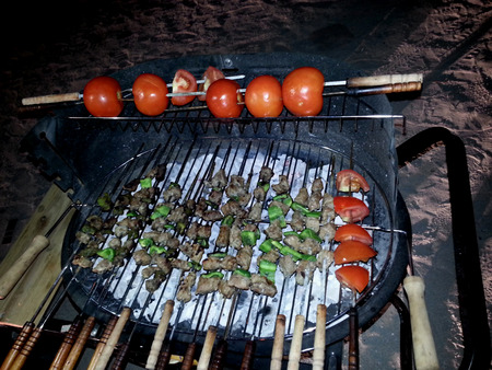 kabab: kabab in grill with pepper and tomatoes Stock Photo