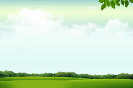 champ vert: Clouds Sky with Green Field