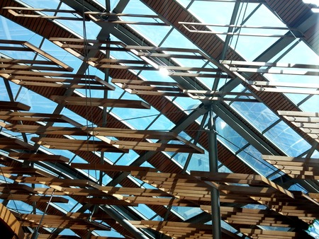 thru: sky lights in thru wood shades Stock Photo