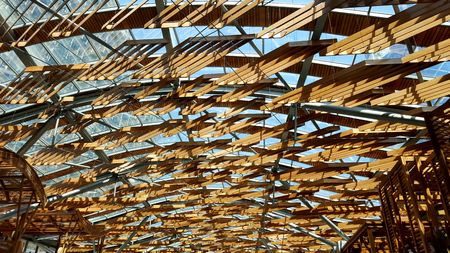 roof beam: wooden roof Stock Photo