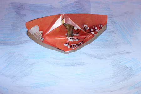 paper boat: Red Paper Boat