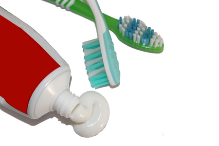 dental calculus: Toothpaste and toothbrush