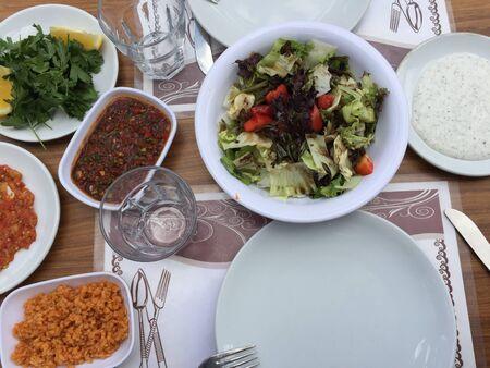 Tasty food and salad Banco de Imagens
