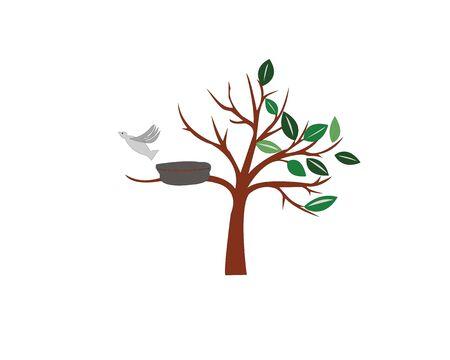 tree and bird in nest