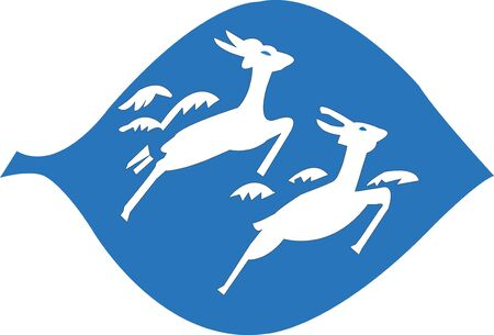 deer label in blue