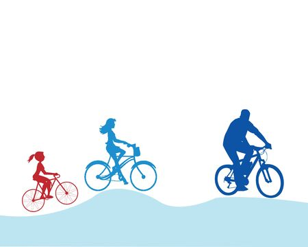 family cycling in around