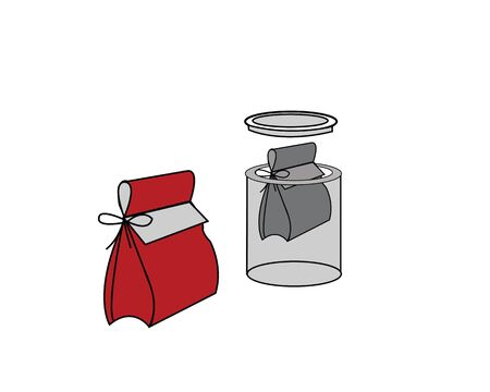pouch and bag in jar