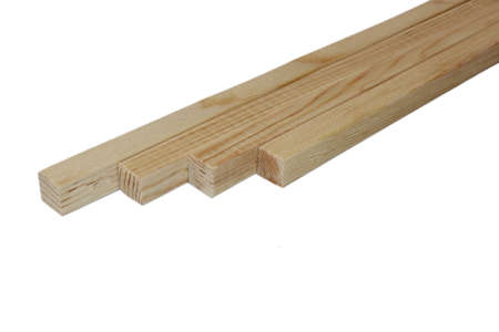 Cubed and long wood in white background Stockfoto