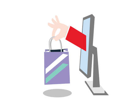 Online shopping thru laptop Stock Illustratie